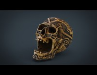 Human Head Skull with Ancient Tribal Tattoo