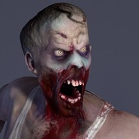 zombie male rigged 3d model