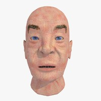 3d european man head male