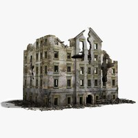 3d destroyed ruined building war 2 model