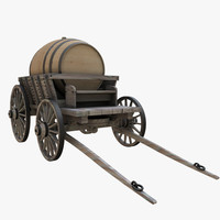3d model of wooden cart barrel