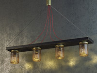 3d model industrial ceiling lamp jars