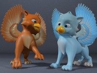 3d cute baby griffin rigged model