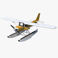cessna 150 seaplane rigged 3d model