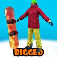 snowboard rigged 3d max