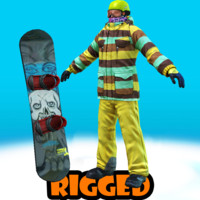 3d model snowboard rigged