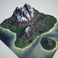 snowy mountain lake snow 3d model