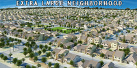 neighborhood houses 3d model
