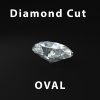 3d model oval diamond cut