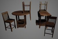 pub table chairs 3d x