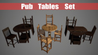 3d pub table chairs