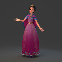 3d cartoon princess rig model