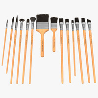 paint brushes set fur 3d model