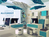 3d model scene office interior blue