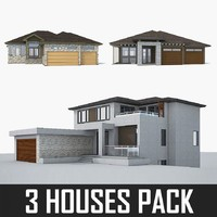 3d model 3 cottage houses