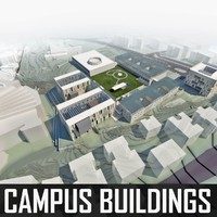 university campus buildings 3d model