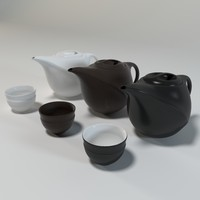 3d teapot white black