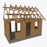3d timber frame building construction model