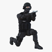 swat man rigged 3d model