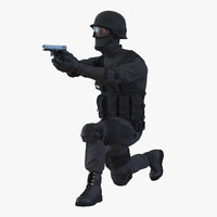 3d model of swat man afro american