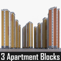 3d max apartment blocks set residential