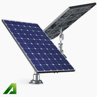 solar panels monocrystalline 3d model