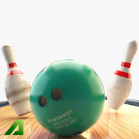 bowling pins balls lane 3d model