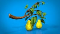 pear branch fruid 3d model