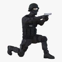 3d max swat man asian rigged