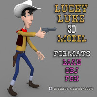 lucky luke rigged cartoon 3d obj