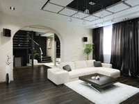 3d black white interior model