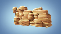 3d stylized cliff rock model