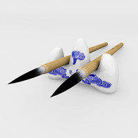 chinese calligraphy brush pen holder 3d model