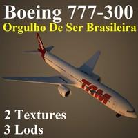 3d model boeing 777-300 tam