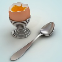 Egg holder egg soft-boiled and spoon