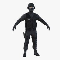 3d swat man asian model