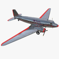 3d douglas dc 3 american airlines model