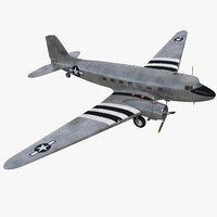 douglas dc 3 air force 3d model