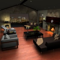 contemporary living room scene 3d 3ds