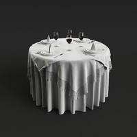 3d model realistic table setting