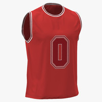 3d model of basketball jersey red