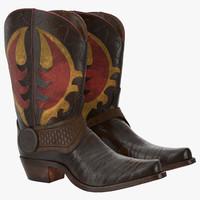 cowboy boots 3d max