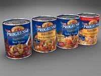3d model of cans progresso soup