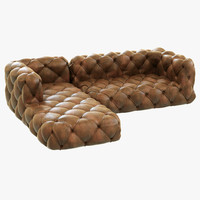 Restoration Hardware Soho Tufted Leather Left-Arm Sofa