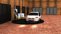 3d model fiat car display stand