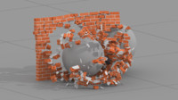 3d model of houdini asset destroy bricks