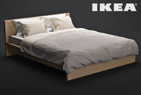 ikea bed malm 3d model