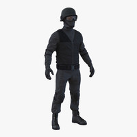 3d swat man afro american