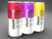 3d model of cans vitamin energy