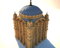 3d model ortakoy mosque